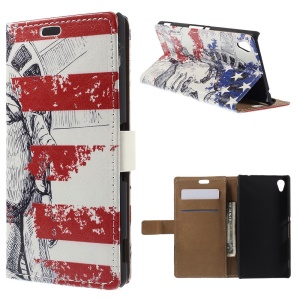 Retro Wallet Leather Cover for Sony Xperia M4 Aqua / Aqua Dual with Stand - Statue of Liberty and USA Flag
