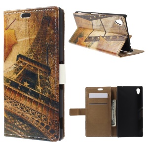 Retro Card Holder Leather Cover for Sony Xperia M4 Aqua / Aqua Dual with Stand - Eiffel Tower and Maple