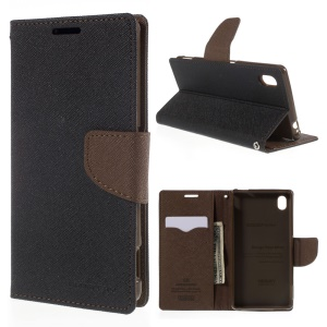 MERCURY GOOSPERY Leather Case for Sony Xperia M4 Aqua/Aqua Dual with Stand - Brown/Black