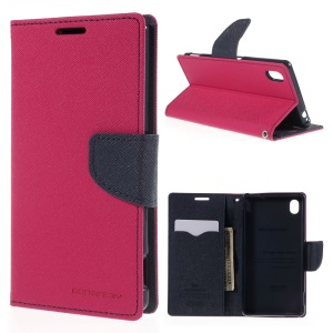 MERCURY GOOSPERY Leather Case for Sony Xperia M4 Aqua/Aqua Dual with Stand - Rose