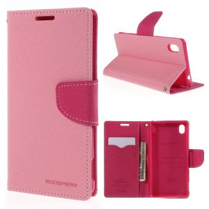 MERCURY GOOSPERY Leather Cover for Sony Xperia M4 Aqua/Aqua Dual with Stand - Pink