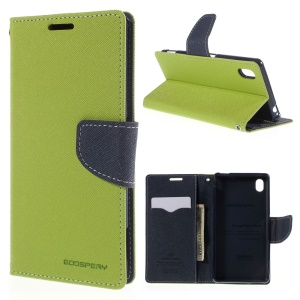 MERCURY GOOSPERY Leather Case for Sony Xperia M4 Aqua/Aqua Dual with Stand - Green