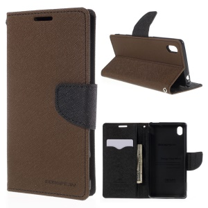 MERCURY GOOSPERY Leather Case for Sony Xperia M4 Aqua/Aqua Dual with Stand - Brown