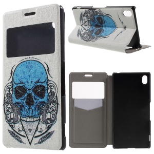 Window View Sweet Fragrance Leather Case for Sony Xperia Z3+/Z3+ Dual - Cool Skull