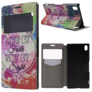 Window View Fragrance Leather Cover for Sony Xperia Z3+/Z3+ Dual - Live by Faith Not by Sight