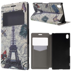 Window View Fragrance Leather Case for Sony Xperia Z3+/Z3+ Dual - Eiffel Tower and Butterfly
