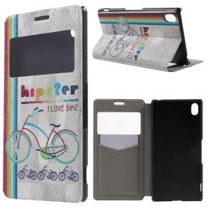 Window View Fragrance Flip PU Leather Cover for Sony Xperia Z3+/Z3+ Dual - Stylish Bikes