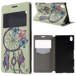 Window View Fragrance Leather Phone Case for Sony Xperia Z3+/Z3+ Dual - Dream Catcher