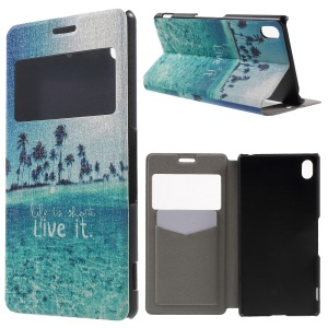 Window View Fragrance Leather Phone Cover for Sony Xperia Z3+/Z3+ Dual - Life Is about Live It