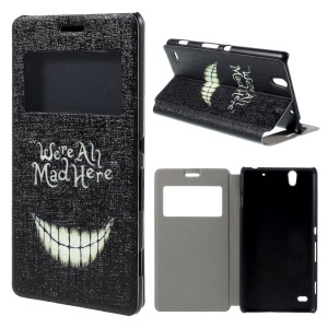 View Window Leather Stand Case for Sony Xperia C4 / C4 Dual - We Are All Mad Here