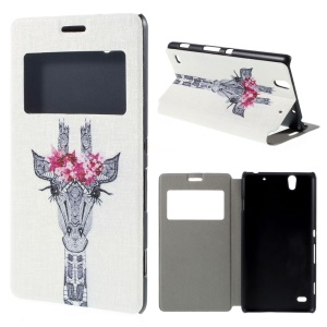 View Window Leather Stand Case for Sony Xperia C4 / C4 Dual - Aztec Giraffe with Flowers