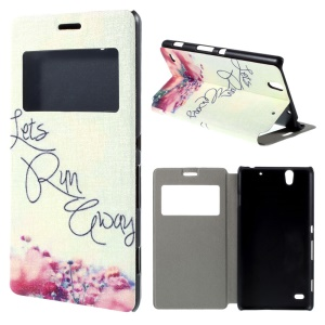 Horizontal Flip Leather Case for Sony Xperia C4 / C4 Dual with View Window- Let Us Run Away