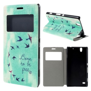 For Sony Xperia C4 / C4 Dual View Window Leather Stand Case - Born to Be Free and Birds