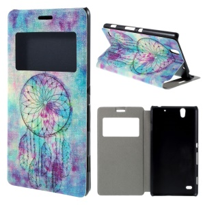 View Window Leather Phone Case for Sony Xperia C4 / C4 Dual - Stylish Dream Catcher