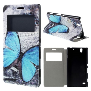 For Sony Xperia C4 / C4 Dual View Window Leather Stand Case - Blue Butterfly