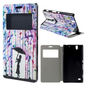 View Window Leather Stand Case for Sony Xperia C4 / C4 Dual - Woman Holding Umbrella and Rain