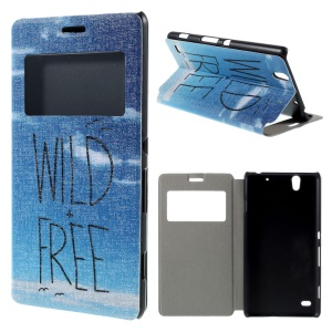 Horizontal Flip View Window Leather Case for Sony Xperia C4 / C4 Dual - Wild and Free Sky Pattern