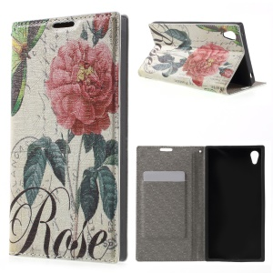 PU Leather Stand Case for Sony Xperia Z3+ E6553 / dual E6533 - Rose Flowers