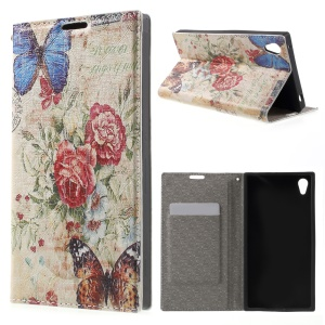 PU Leather Stand Cover for Sony Xperia Z3+ E6553 / dual E6533 - Butterfly and Flowers