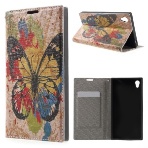 Leather Card Holder Case for Sony Xperia Z3+ E6553 / dual E6533 - Vivid Butterfly