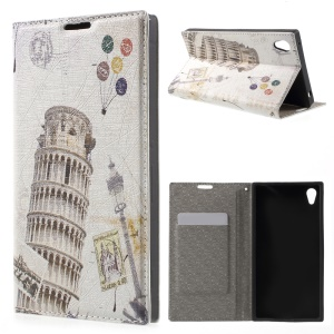 PU Leather Stand Case Cover for Sony Xperia Z3+ E6553 / dual E6533 - Leaning Tower of Pisa