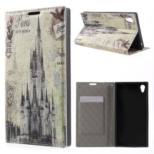 PU Leather Stand Case Accessory for Sony Xperia Z3+ E6553 / dual E6533 - French Buildings
