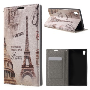 PU Leather Stand Cover for Sony Xperia Z3+ E6553 / dual E6533 - Paris Eiffel Tower