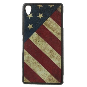 Retro American Flag Leather Coated TPU Gel Case for Sony Xperia Z3 D6653 D6603