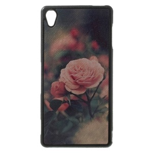 Beautiful Flowers Leather Coated TPU Case Accessory for Sony Xperia Z3 D6653 D6603