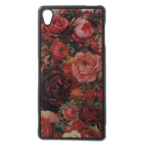 Vivid Flowers Leather Coated TPU Gel Cover for Sony Xperia Z3 D6653 D6603