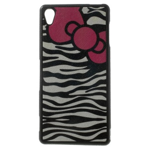 Zebra Stripes & Bowknot Leather Coated TPU Cover Shell for Sony Xperia Z3 D6653 D6603