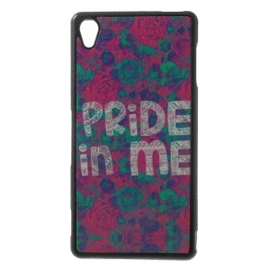 Elegant Flowers & Pride in Me Pattern Leather Coated TPU Gel Case for Sony Xperia Z3 D6653 D6603