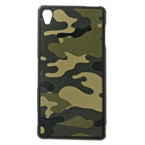 Fashion Camouflage Leather Coated TPU Gel Case for Sony Xperia Z3 D6653 D6603