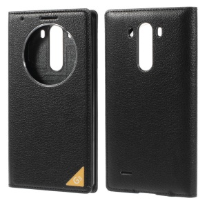 Window View Litchi Skin Leather Back Cover Housing for LG G3 D850 - Black