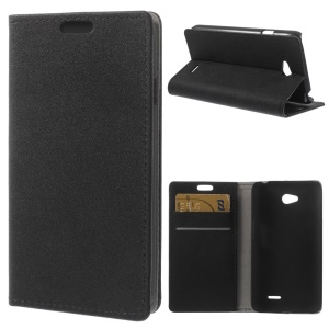 Black Sand-like Texture Leather Stand Case w/ Card Slots for LG L65 D280 / Dual SIM D285