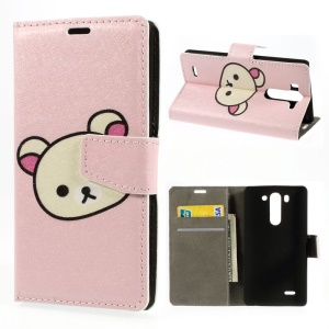 Cute Rilakkuma Silk Texture Leather Stand Case w/ Wallet for LG G3 S D725 D722