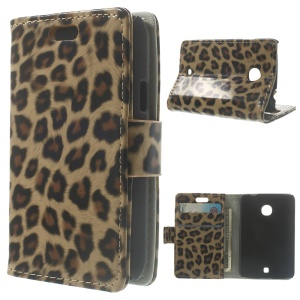 For LG L30 Glossy Leopard Wallet Leather Stand Case Shell