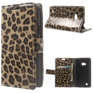 Glossy Leopard Wallet Leather Stand Case for LG L50 D213N
