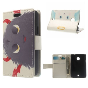 Protective Wallet PU Leather Stand Case for LG L30 - Devils Horns Hairy Doll