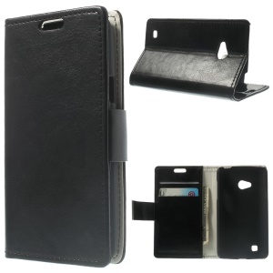 Crazy Horse Wallet PU Leather Stand Case for LG L50 D213N - Black