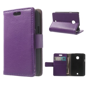 Lychee Texture PU Leather Phone Case w/ Stand & Wallet for LG L30 - Purple