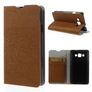 Wood Grain Leather Card Holder Stand Case Shell for LG L60 X145 - Brown