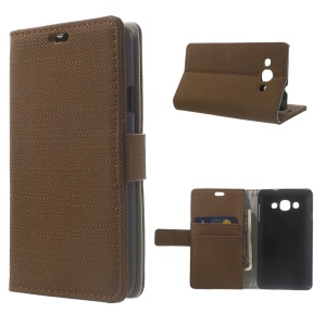 Cloth Texture Leather Wallet Stand Case Shell for LG L60 X145 - Brown