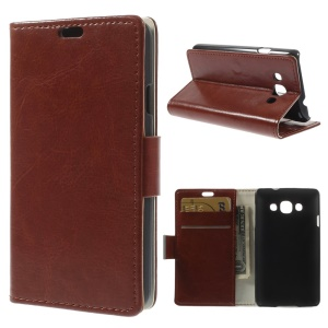 Crazy Horse PU Leather Wallet Stand Case Cover for LG L60 X145 - Brown