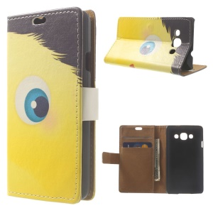 Yellow Hairy Doll PU Leather Wallet Cover w/ Stand for LG L60 X145
