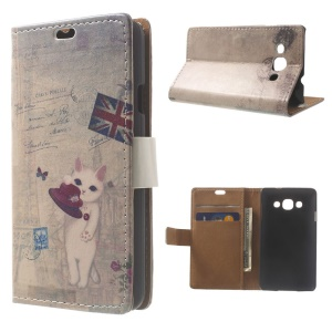 Cute Cat & Retro UK Flag Wallet Stand PU Leather Skin Case for LG L60 X145