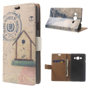 Nostalgic Log Cabin & Eiffel Tower Wallet Stand PU Leather Cover for LG L60 X145