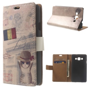 Wearing Hat Cat & French Flag Magnetic Stand Leather Wallet Case for LG L60 X145