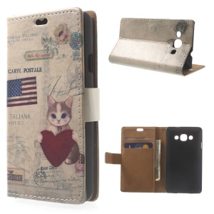 Cat Holding Heart & American Flag Wallet Leather Stand Case for LG L60 X145