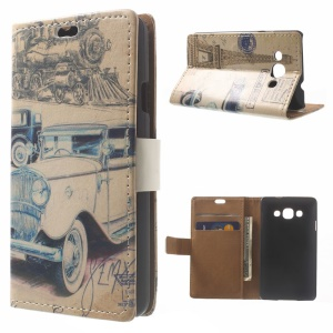 Retro Car & Eiffel Tower Wallet Stand PU Leather Protective Case for LG L60 X145